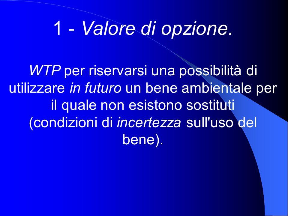 1 - Valore di opzione. WTP per riservarsi una possibilità di utilizzare in futuro un bene ambientale per il quale non esistono sostituti (condizioni d