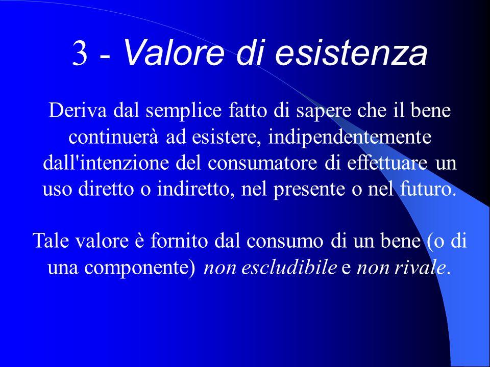 3 - Valore di esistenza Deriva dal semplice fatto di sapere che il bene continuerà ad esistere, indipendentemente dall'intenzione del consumatore di e