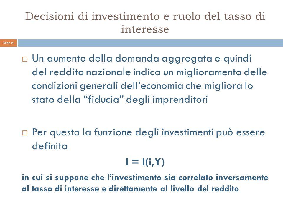 Decisioni di investimento e ruolo del tasso di interesse Un aumento della domanda aggregata e quindi del reddito nazionale indica un miglioramento del