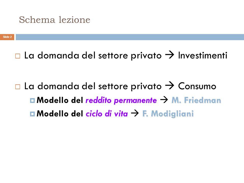 Schema lezione La domanda del settore privato Investimenti La domanda del settore privato Consumo M.Friedman Modello del reddito permanente M. Friedma