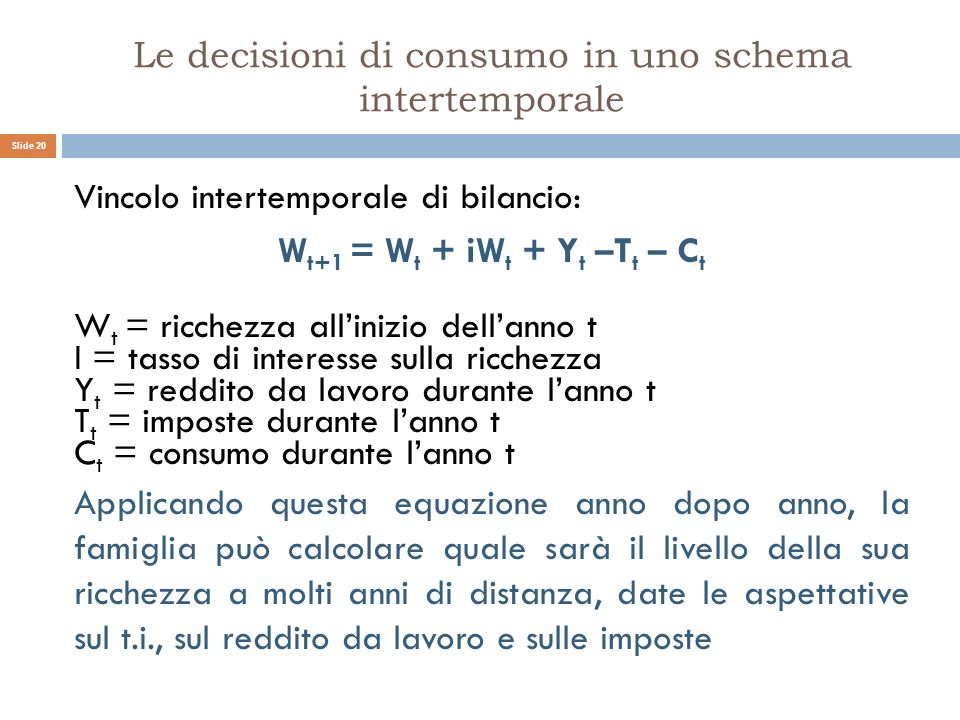Le decisioni di consumo in uno schema intertemporale Vincolo intertemporale di bilancio: W t+1 = W t + iW t + Y t –T t – C t W t = ricchezza allinizio
