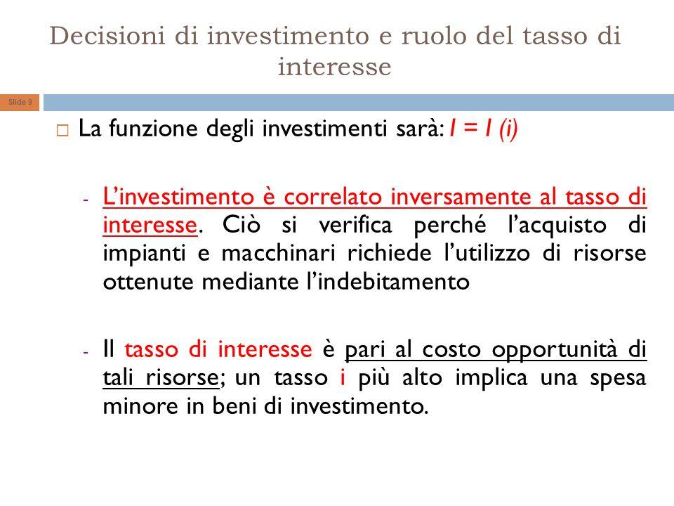 Decisioni di investimento e ruolo del tasso di interesse La funzione degli investimenti sarà: I = I (i) - Linvestimento è correlato inversamente al ta