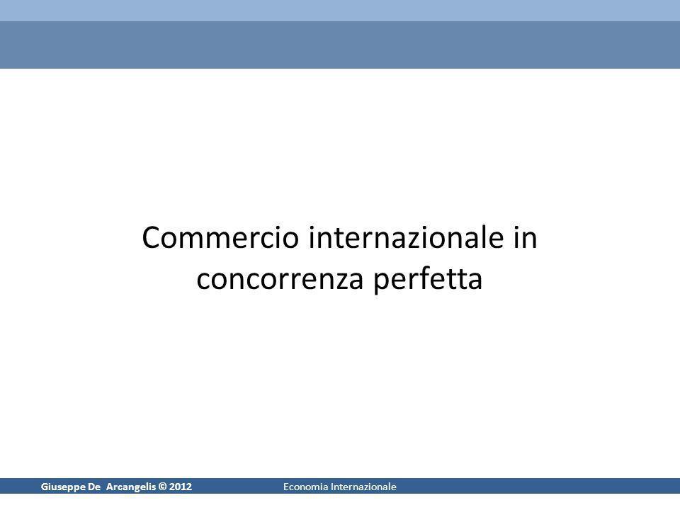 Giuseppe De Arcangelis © 20121Economia Internazionale Commercio internazionale in concorrenza perfetta
