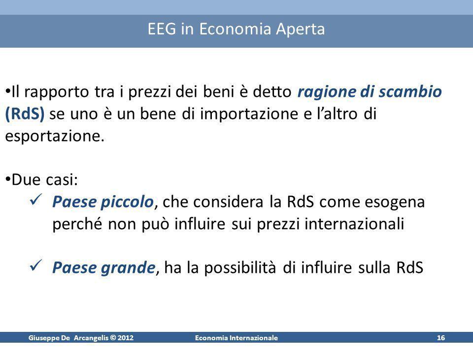 Giuseppe De Arcangelis © 2012Economia Internazionale16 EEG in Economia Aperta Il rapporto tra i prezzi dei beni è detto ragione di scambio (RdS) se un