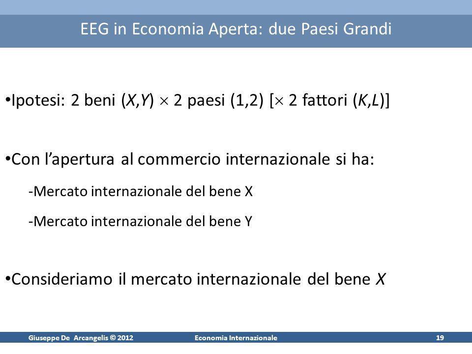 Giuseppe De Arcangelis © 2012Economia Internazionale19 EEG in Economia Aperta: due Paesi Grandi Ipotesi: 2 beni (X,Y) 2 paesi (1,2) [ 2 fattori (K,L)]