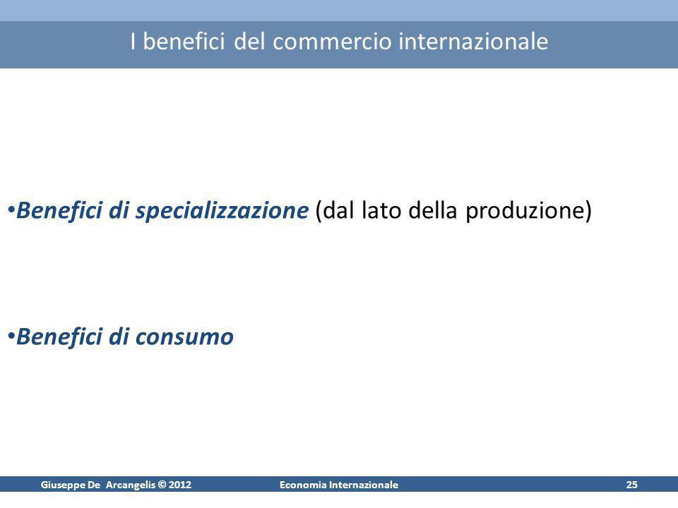 Giuseppe De Arcangelis © 2012Economia Internazionale25 I benefici del commercio internazionale Benefici di specializzazione (dal lato della produzione