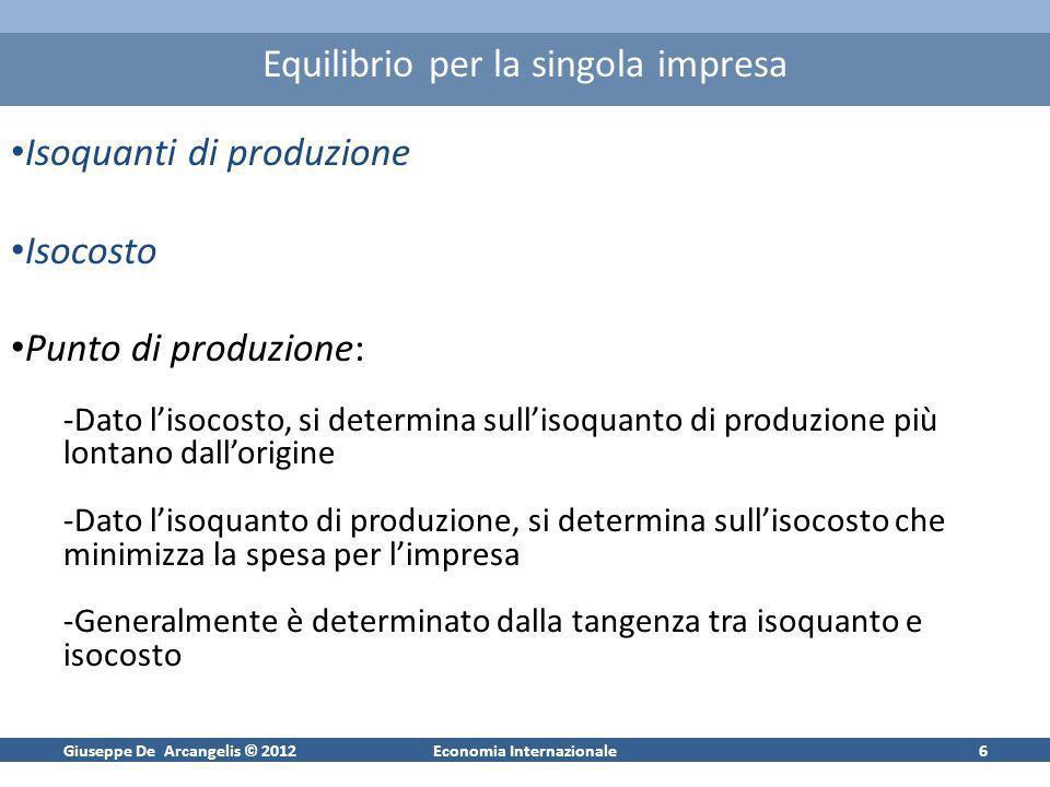 Giuseppe De Arcangelis © 2012Economia Internazionale6 Equilibrio per la singola impresa Isoquanti di produzione Isocosto Punto di produzione: -Dato li