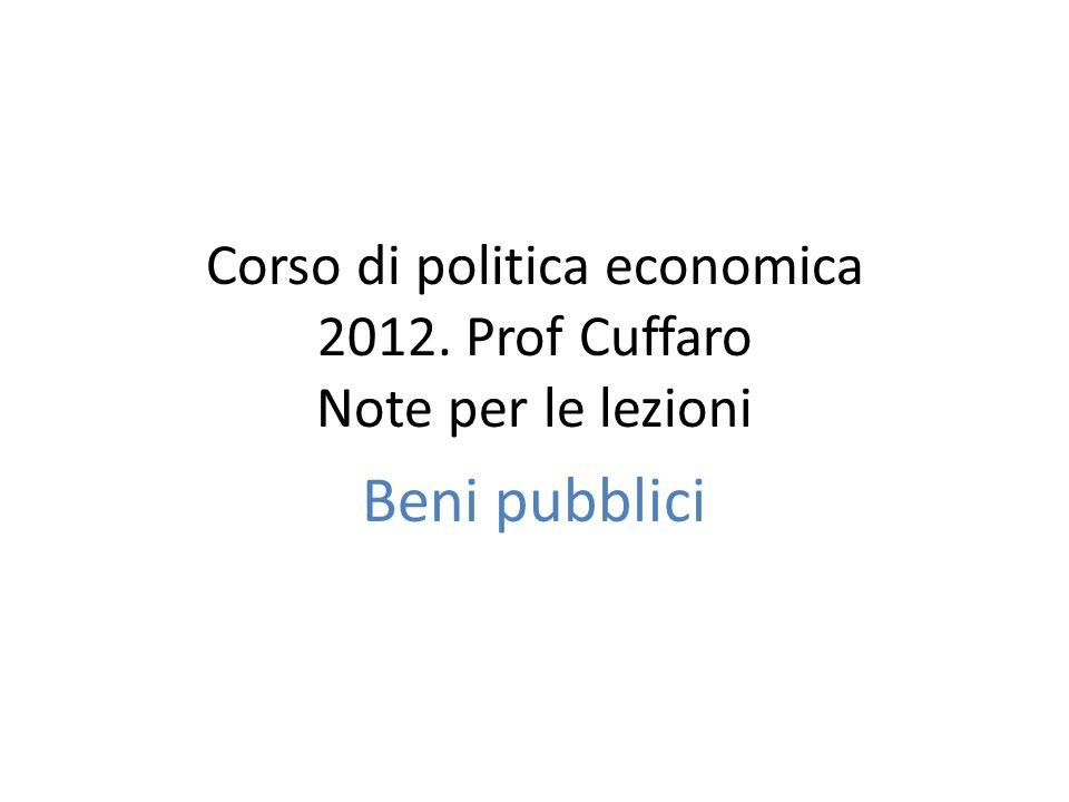 Corso di politica economica 2012. Prof Cuffaro Note per le lezioni Beni pubblici