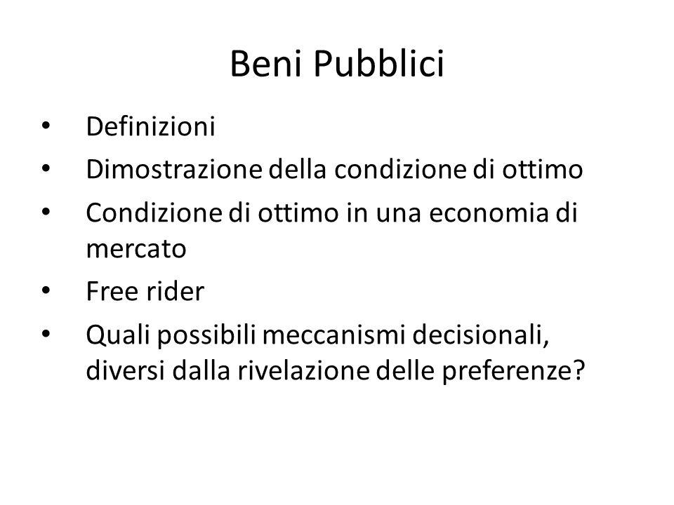 Beni Pubblici Definizioni Dimostrazione della condizione di ottimo Condizione di ottimo in una economia di mercato Free rider Quali possibili meccanis