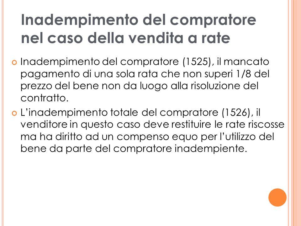 Inadempimento del compratore (1525), il mancato pagamento di una sola rata che non superi 1/8 del prezzo del bene non da luogo alla risoluzione del contratto.