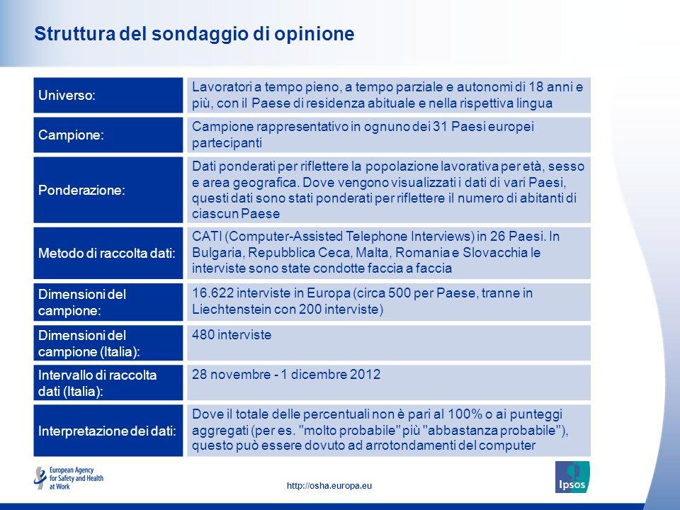 2 http://osha.europa.eu Struttura del sondaggio di opinione Universo: Lavoratori a tempo pieno, a tempo parziale e autonomi di 18 anni e più, con il P