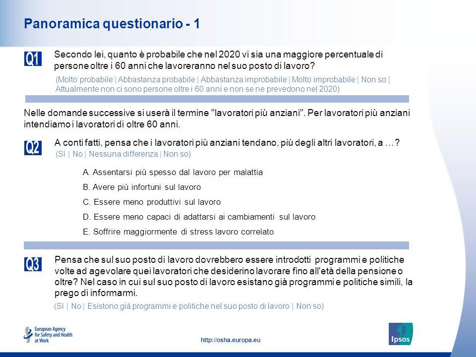 4 http://osha.europa.eu Panoramica questionario - 1 Secondo lei, quanto è probabile che nel 2020 vi sia una maggiore percentuale di persone oltre i 60