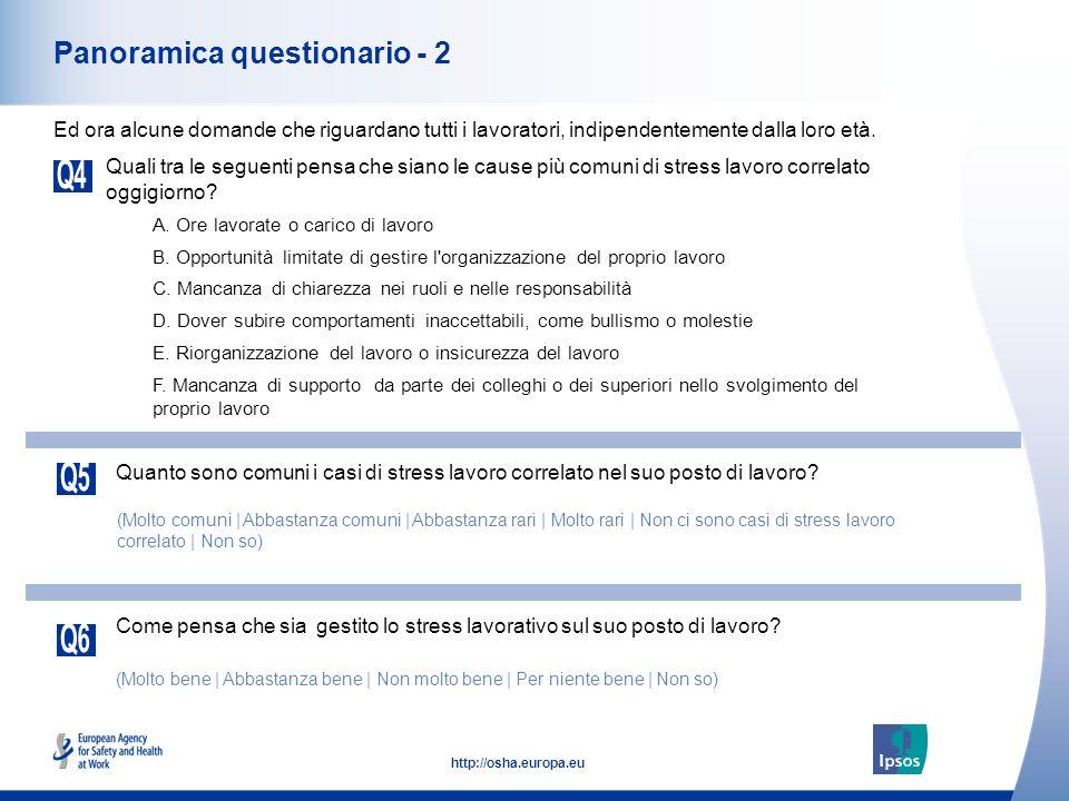 5 http://osha.europa.eu Panoramica questionario - 2 Quali tra le seguenti pensa che siano le cause più comuni di stress lavoro correlato oggigiorno? E