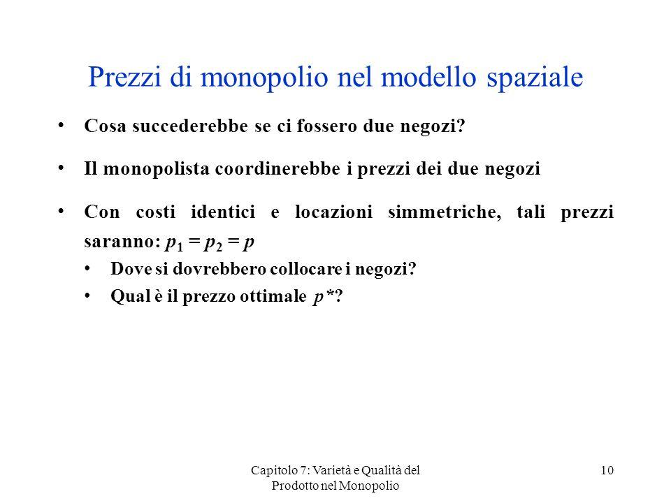 Capitolo 7: Varietà e Qualità del Prodotto nel Monopolio 10 Prezzi di monopolio nel modello spaziale Cosa succederebbe se ci fossero due negozi? Il mo