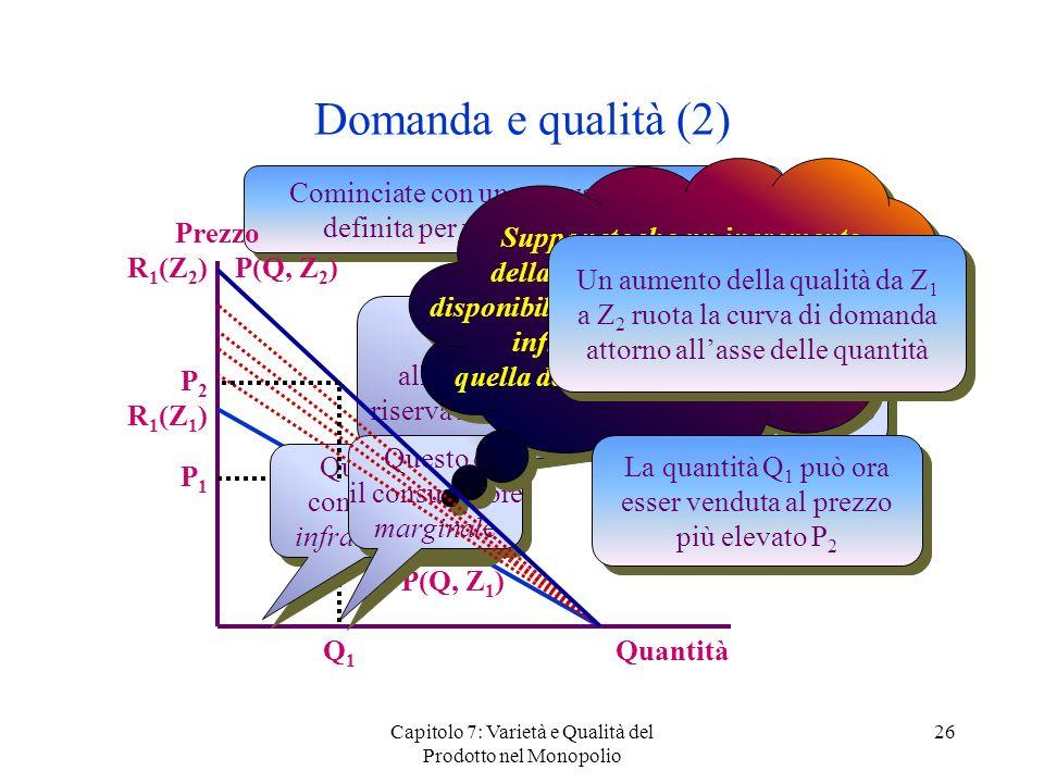 Capitolo 7: Varietà e Qualità del Prodotto nel Monopolio 26 Domanda e qualità (2) Cominciate con una curva di domanda definita per un bene di qualità