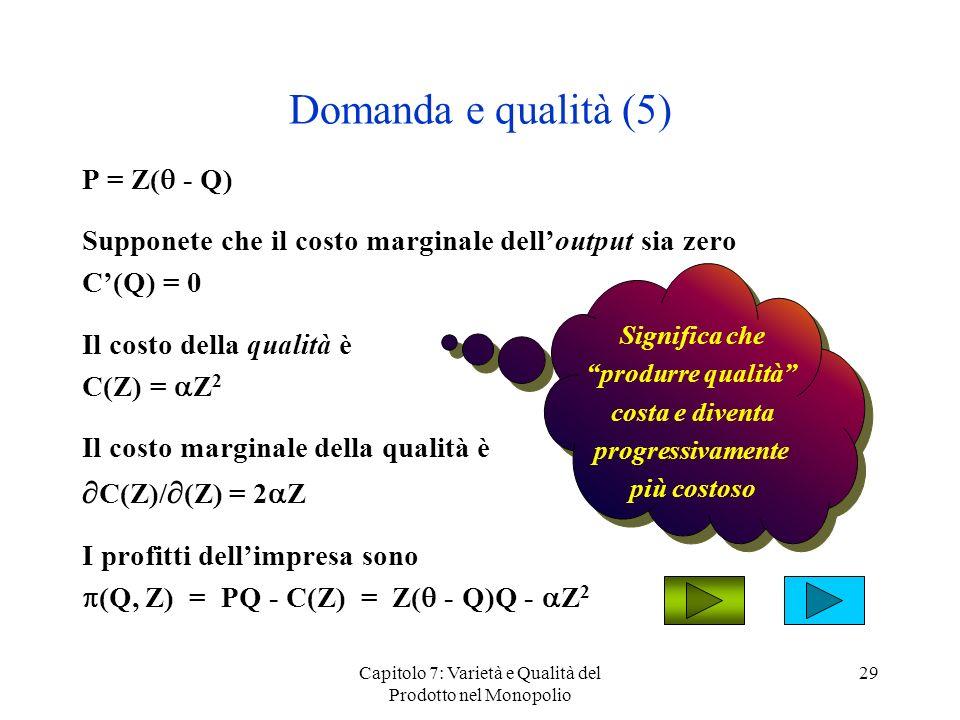 Capitolo 7: Varietà e Qualità del Prodotto nel Monopolio 29 Domanda e qualità (5) P = Z( - Q) Supponete che il costo marginale delloutput sia zero C(Q