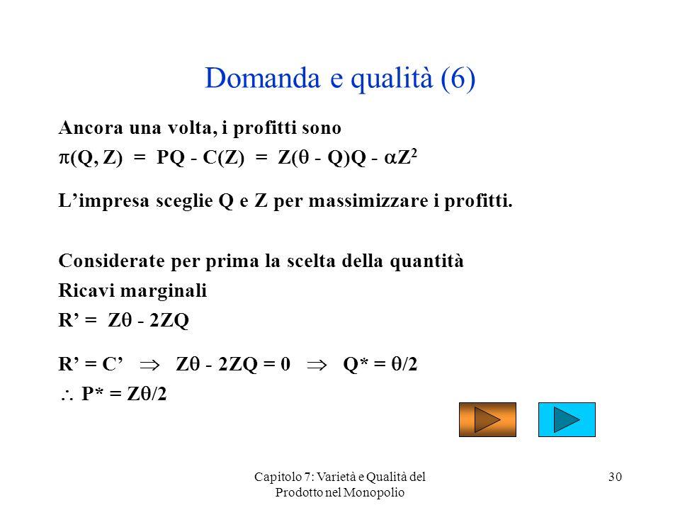 Capitolo 7: Varietà e Qualità del Prodotto nel Monopolio 30 Domanda e qualità (6) Ancora una volta, i profitti sono (Q, Z) = PQ - C(Z) = Z( - Q)Q - Z