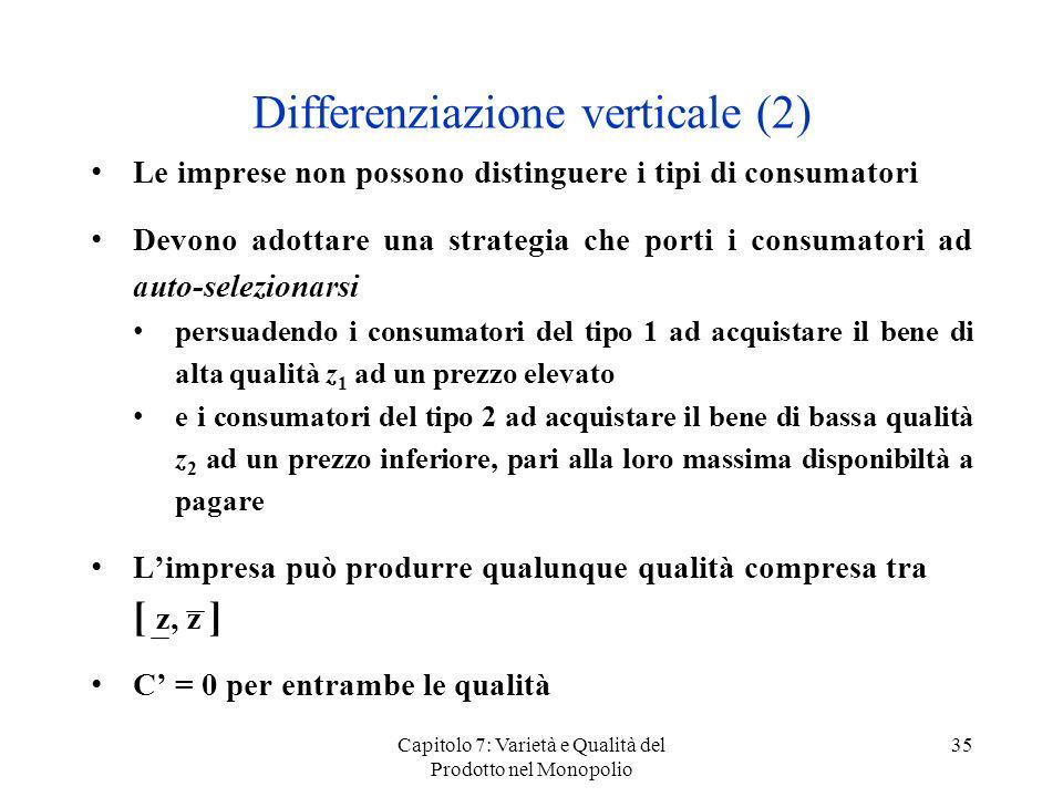 Capitolo 7: Varietà e Qualità del Prodotto nel Monopolio 35 Differenziazione verticale (2) Le imprese non possono distinguere i tipi di consumatori De