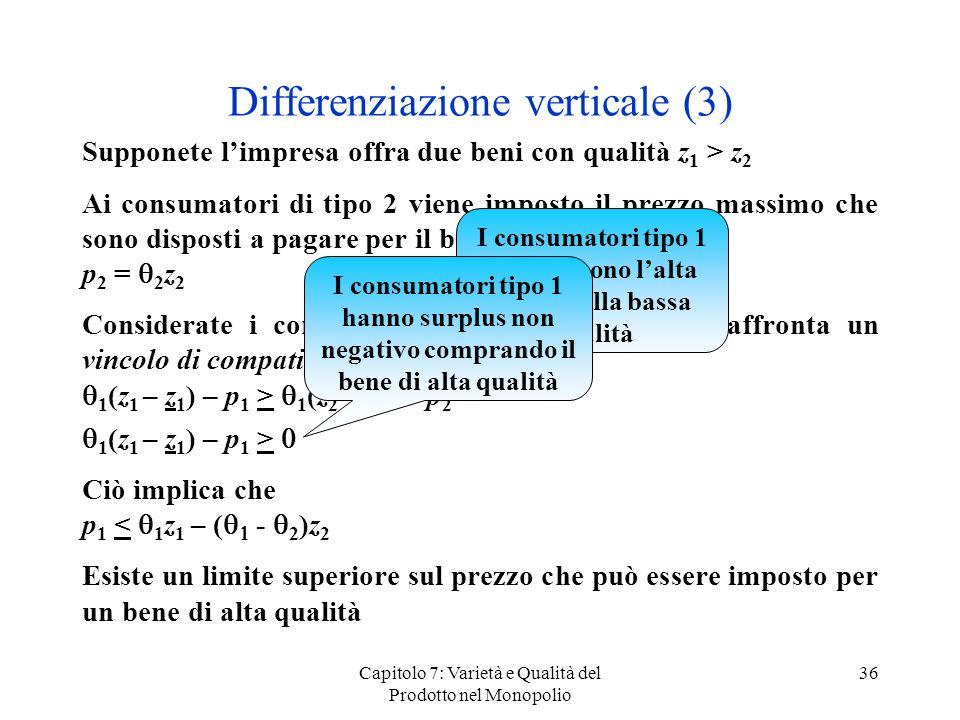 Capitolo 7: Varietà e Qualità del Prodotto nel Monopolio 36 Differenziazione verticale (3) Supponete limpresa offra due beni con qualità z 1 > z 2 Ai