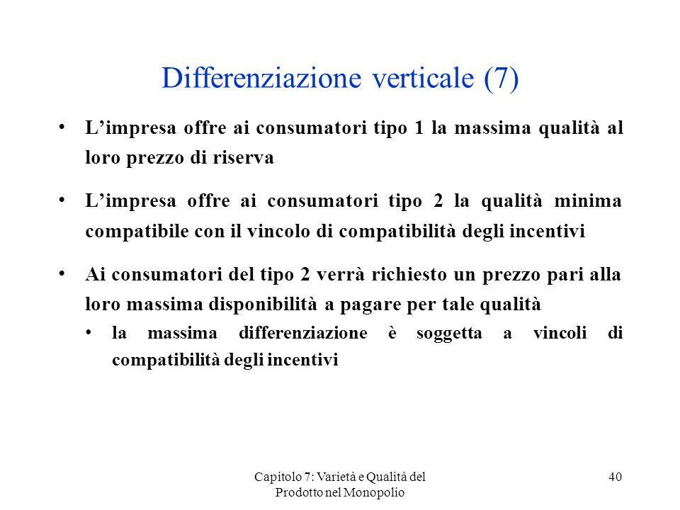 Capitolo 7: Varietà e Qualità del Prodotto nel Monopolio 40 Differenziazione verticale (7) Limpresa offre ai consumatori tipo 1 la massima qualità al