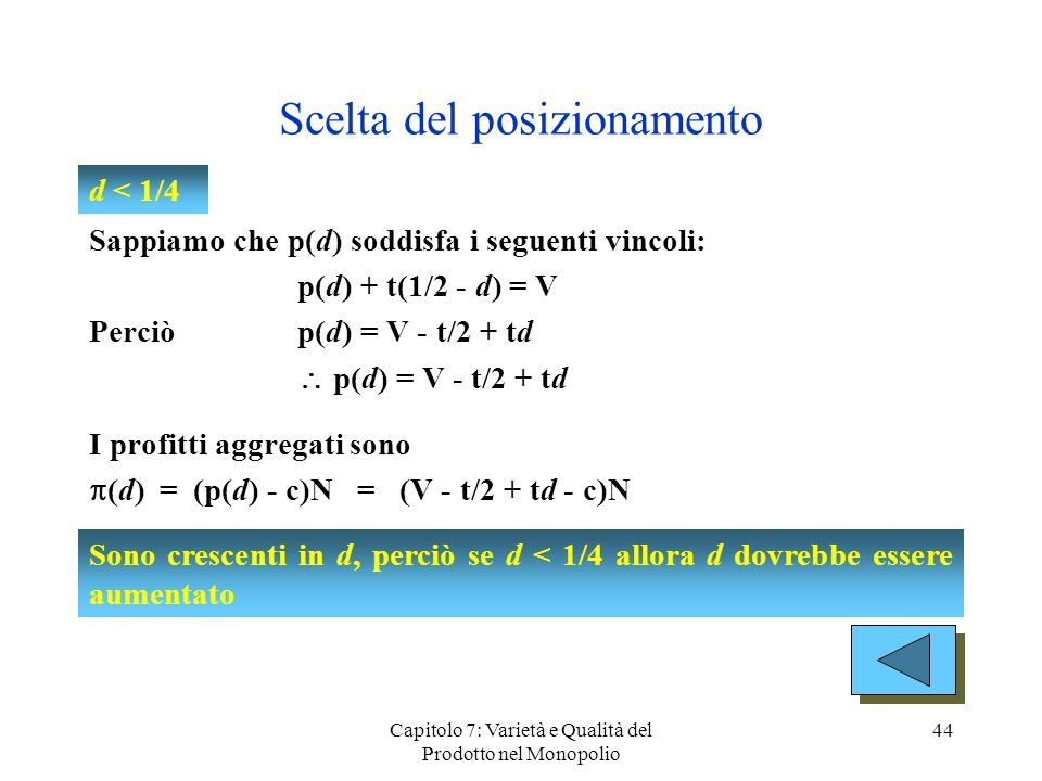 Capitolo 7: Varietà e Qualità del Prodotto nel Monopolio 44 Scelta del posizionamento Sappiamo che p(d) soddisfa i seguenti vincoli: p(d) + t(1/2 - d)