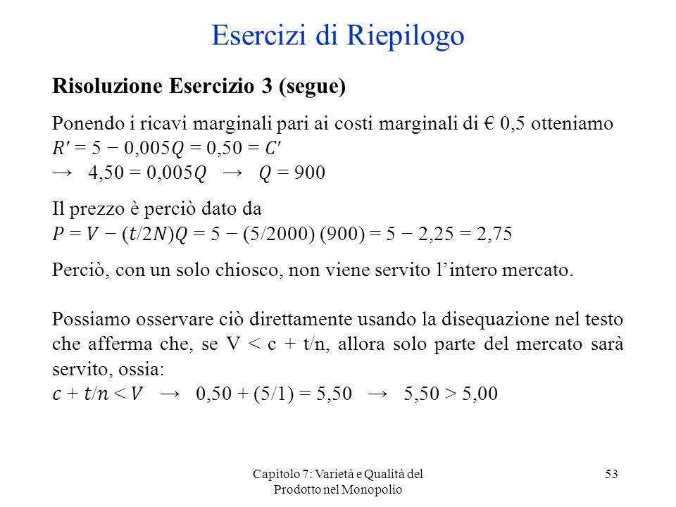 Capitolo 7: Varietà e Qualità del Prodotto nel Monopolio 53 Risoluzione Esercizio 3 (segue) Ponendo i ricavi marginali pari ai costi marginali di 0,5
