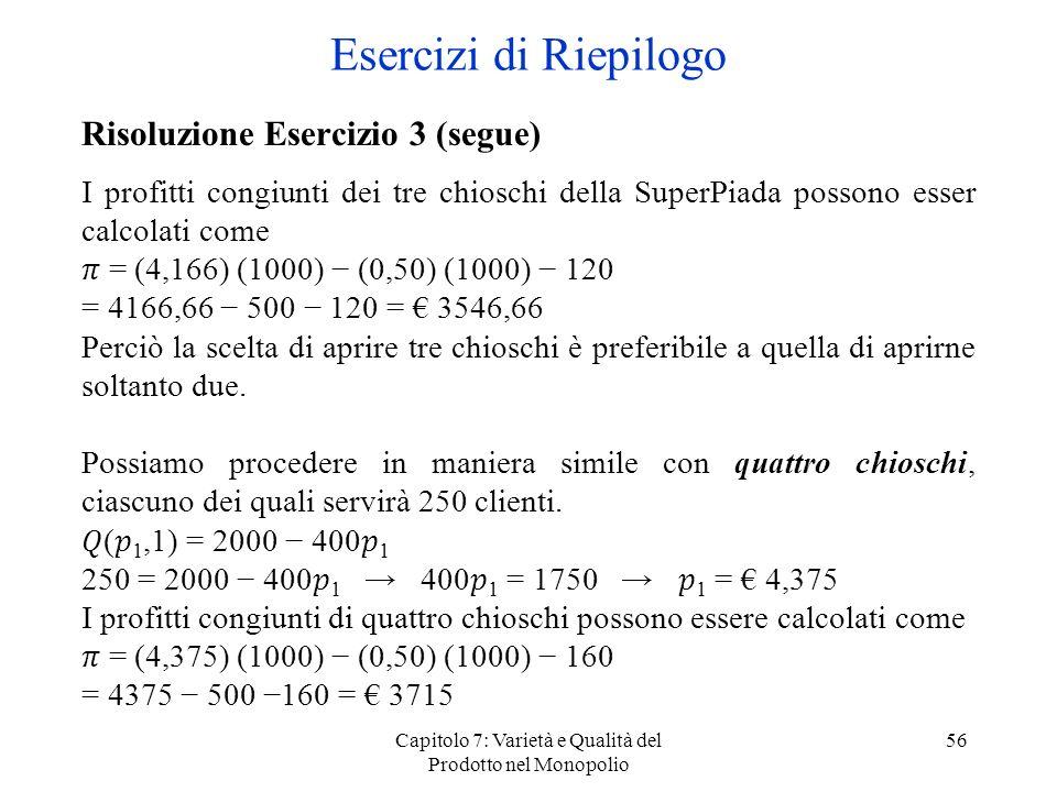 Capitolo 7: Varietà e Qualità del Prodotto nel Monopolio 56 Risoluzione Esercizio 3 (segue) I profitti congiunti dei tre chioschi della SuperPiada pos