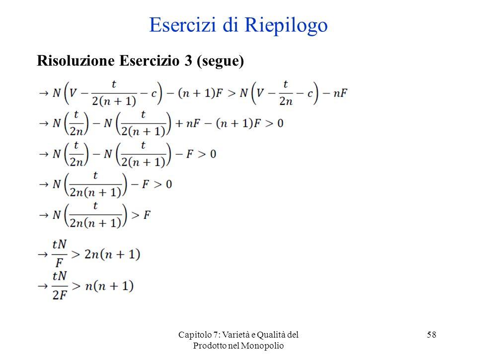 Capitolo 7: Varietà e Qualità del Prodotto nel Monopolio 58 Risoluzione Esercizio 3 (segue) Esercizi di Riepilogo