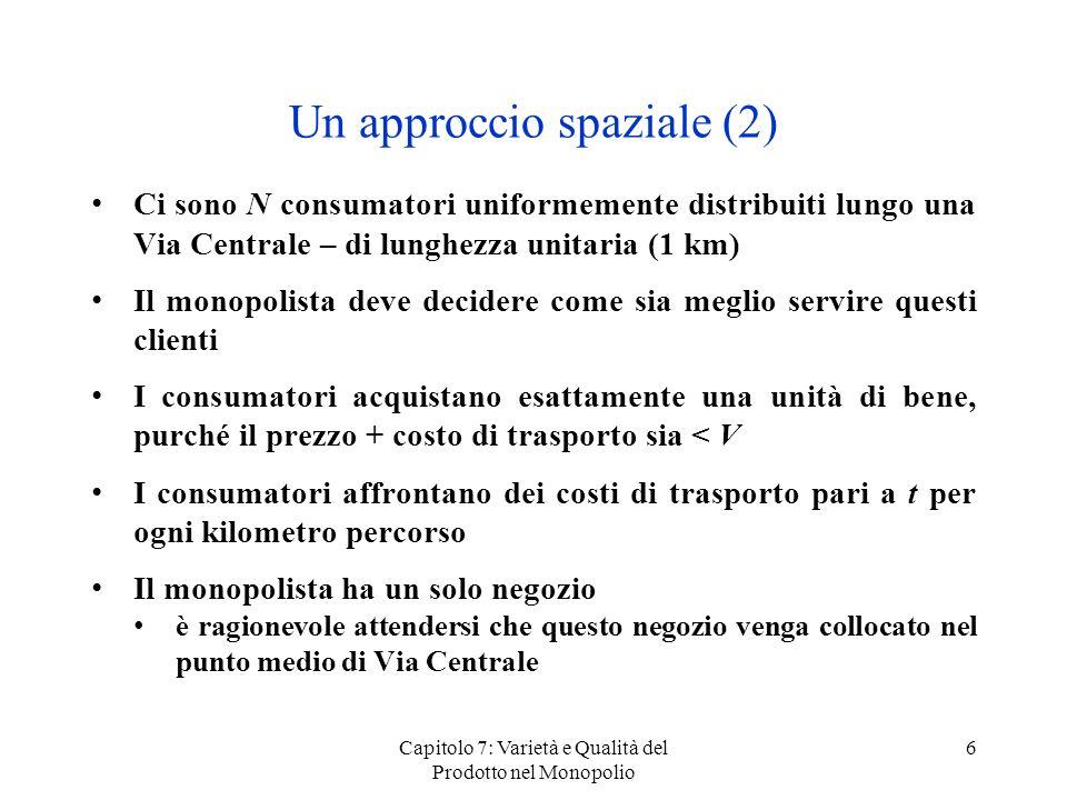 Capitolo 7: Varietà e Qualità del Prodotto nel Monopolio 6 Un approccio spaziale (2) Ci sono N consumatori uniformemente distribuiti lungo una Via Cen