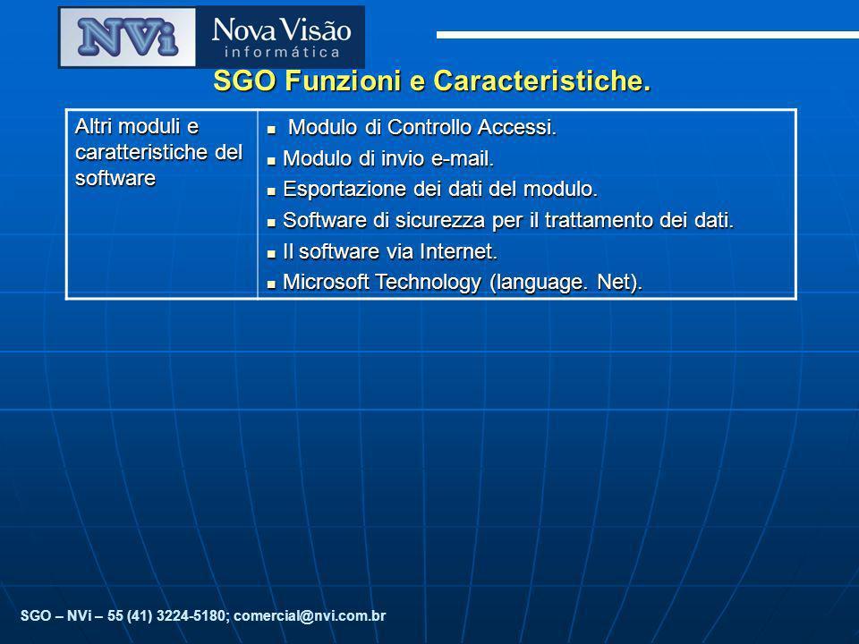 SGO Funzioni e Caracteristiche. Altri moduli e caratteristiche del software Modulo di Controllo Accessi. Modulo di Controllo Accessi. Modulo di invio