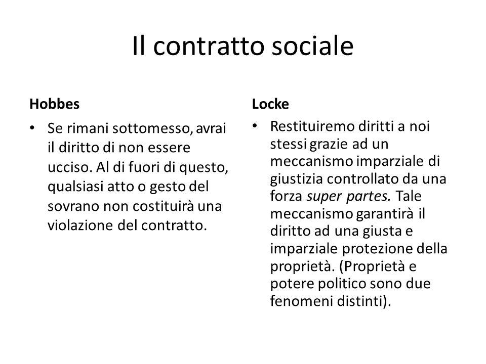 Il contratto sociale Hobbes Se rimani sottomesso, avrai il diritto di non essere ucciso.