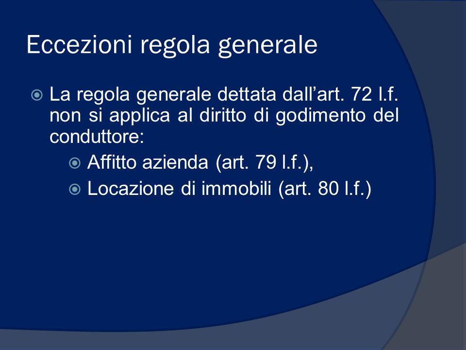 Eccezioni regola generale La regola generale dettata dallart. 72 l.f. non si applica al diritto di godimento del conduttore: Affitto azienda (art. 79