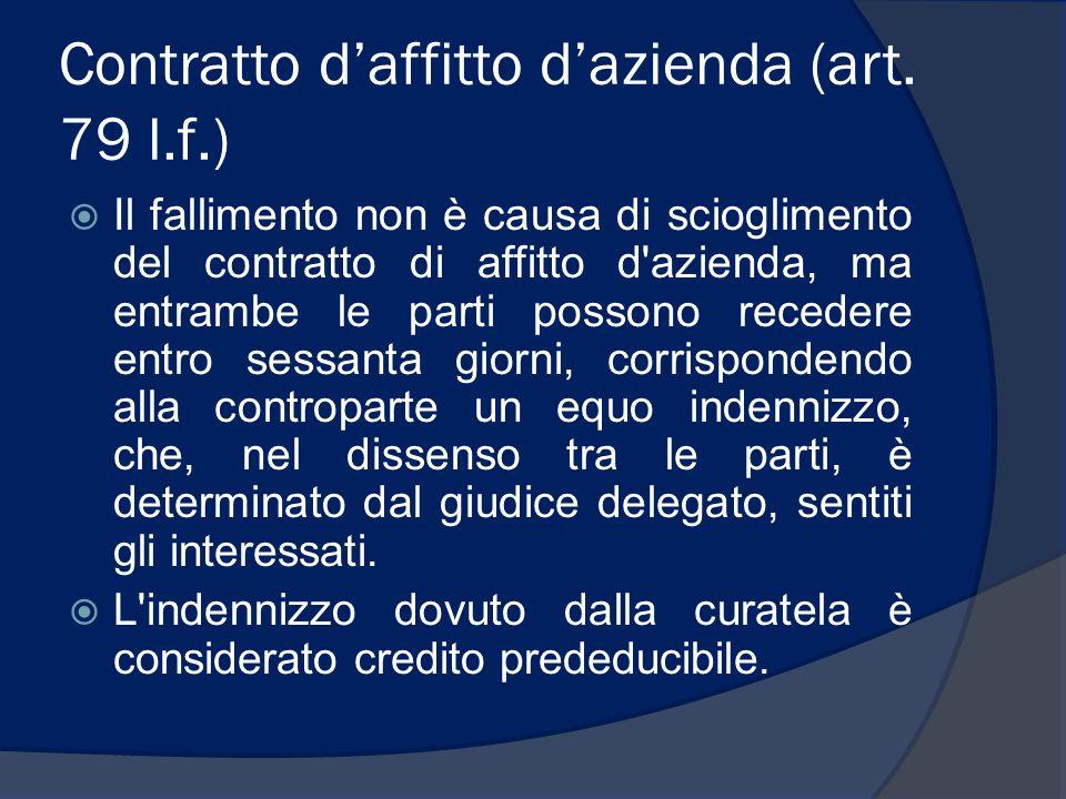 Contratto daffitto dazienda (art. 79 l.f.) Il fallimento non è causa di scioglimento del contratto di affitto d'azienda, ma entrambe le parti possono