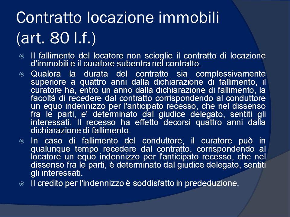 Contratto locazione immobili (art. 80 l.f.) Il fallimento del locatore non scioglie il contratto di locazione d'immobili e il curatore subentra nel co