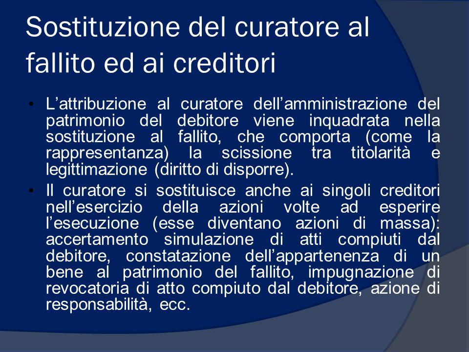 Sostituzione del curatore al fallito ed ai creditori Lattribuzione al curatore dellamministrazione del patrimonio del debitore viene inquadrata nella
