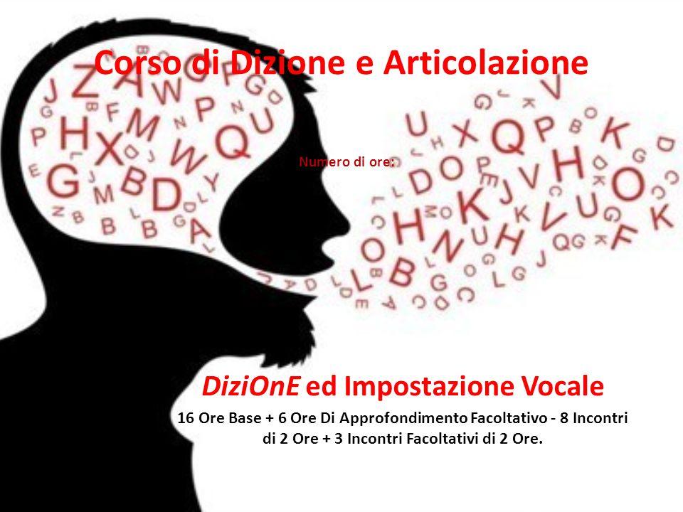 Corso di Dizione e Articolazione DiziOnE ed Impostazione Vocale 16 Ore Base + 6 Ore Di Approfondimento Facoltativo - 8 Incontri di 2 Ore + 3 Incontri