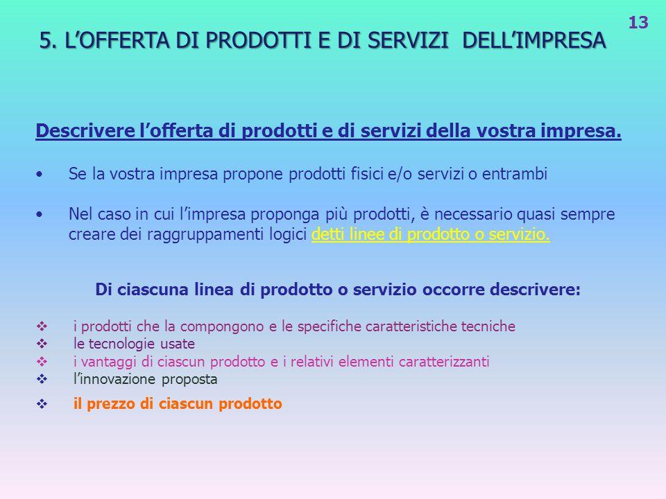5. LOFFERTA DI PRODOTTI E DI SERVIZI DELLIMPRESA Descrivere lofferta di prodotti e di servizi della vostra impresa. Se la vostra impresa propone prodo