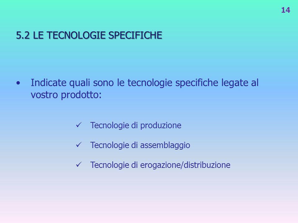 5.2 LE TECNOLOGIE SPECIFICHE Indicate quali sono le tecnologie specifiche legate al vostro prodotto: Tecnologie di produzione Tecnologie di assemblagg