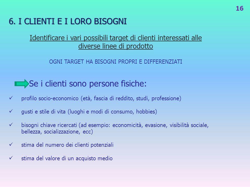 6. I CLIENTI E I LORO BISOGNI Identificare i vari possibili target di clienti interessati alle diverse linee di prodotto OGNI TARGET HA BISOGNI PROPRI
