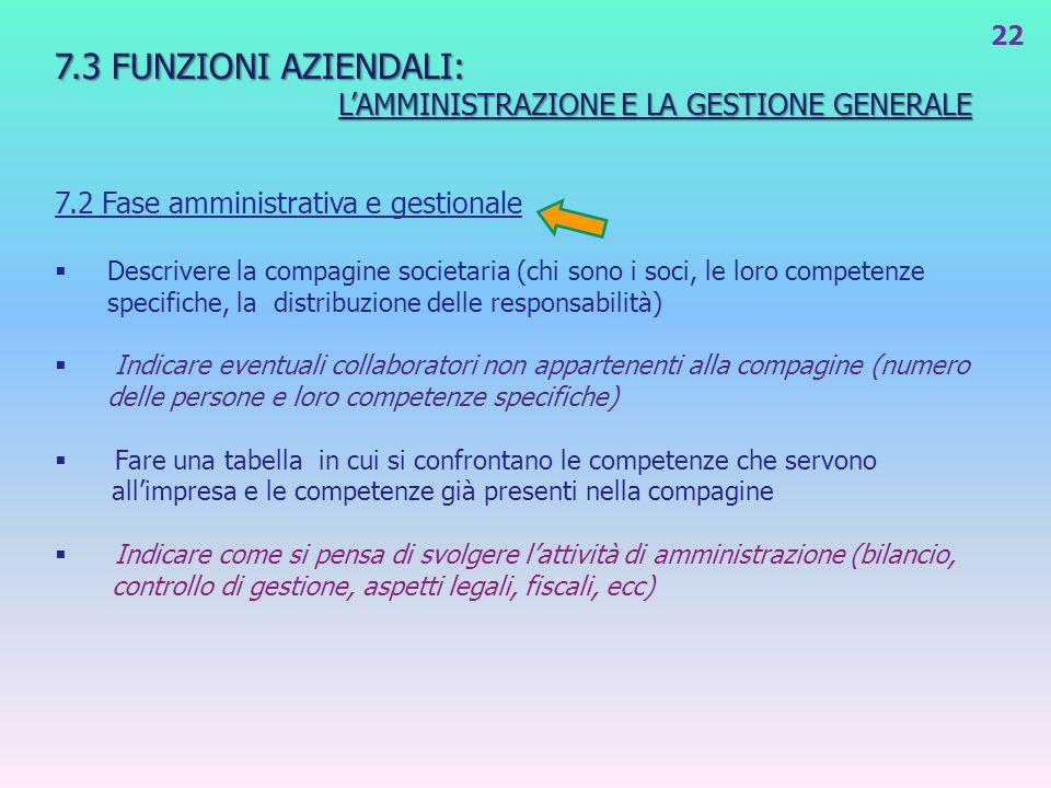 7.3 FUNZIONI AZIENDALI: LAMMINISTRAZIONE E LA GESTIONE GENERALE LAMMINISTRAZIONE E LA GESTIONE GENERALE 7.2 Fase amministrativa e gestionale Descriver