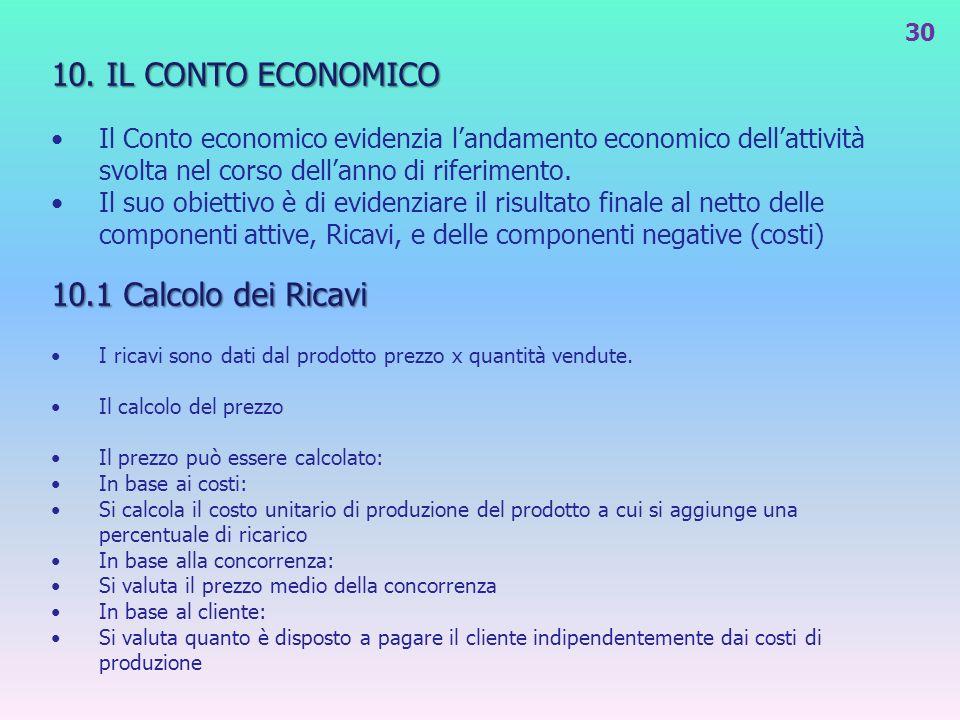 10. IL CONTO ECONOMICO Il Conto economico evidenzia landamento economico dellattività svolta nel corso dellanno di riferimento. Il suo obiettivo è di