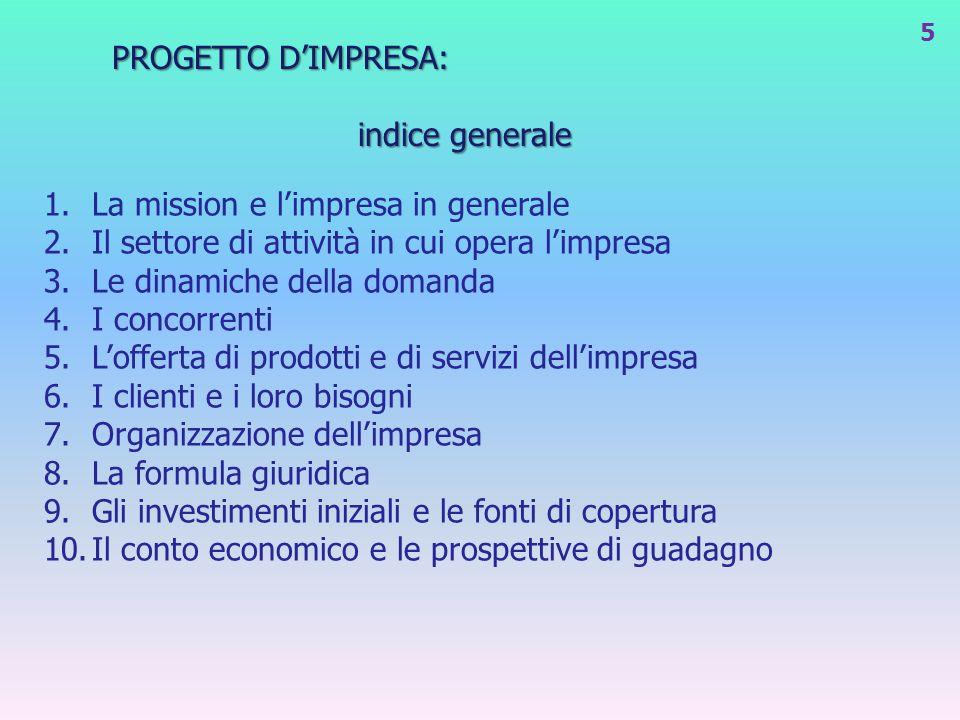 PROGETTO DIMPRESA: indice generale 1.La mission e limpresa in generale 2.Il settore di attività in cui opera limpresa 3.Le dinamiche della domanda 4.I