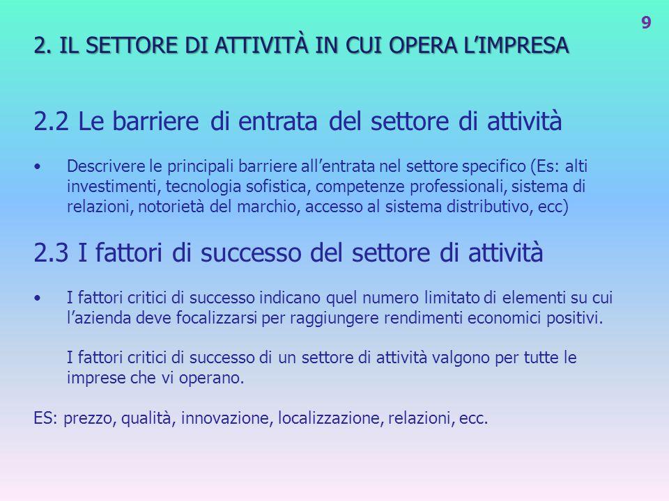 2. IL SETTORE DI ATTIVITÀ IN CUI OPERA LIMPRESA 2.2 Le barriere di entrata del settore di attività Descrivere le principali barriere allentrata nel se