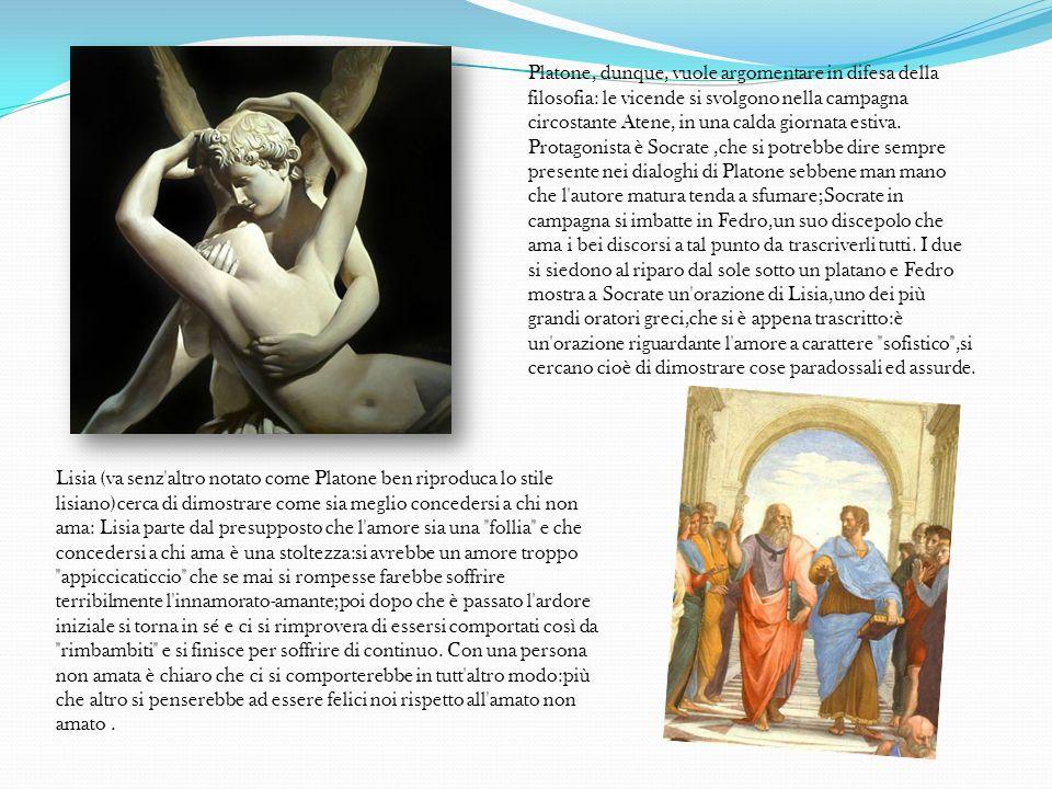 Lisia (va senz'altro notato come Platone ben riproduca lo stile lisiano)cerca di dimostrare come sia meglio concedersi a chi non ama: Lisia parte dal