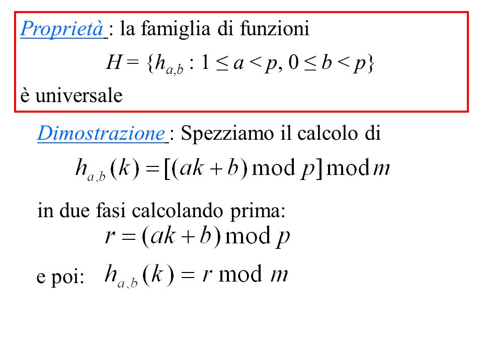 Proprietà : la famiglia di funzioni H = {h a,b : 1 a < p, 0 b < p} è universale Dimostrazione : Spezziamo il calcolo di in due fasi calcolando prima: