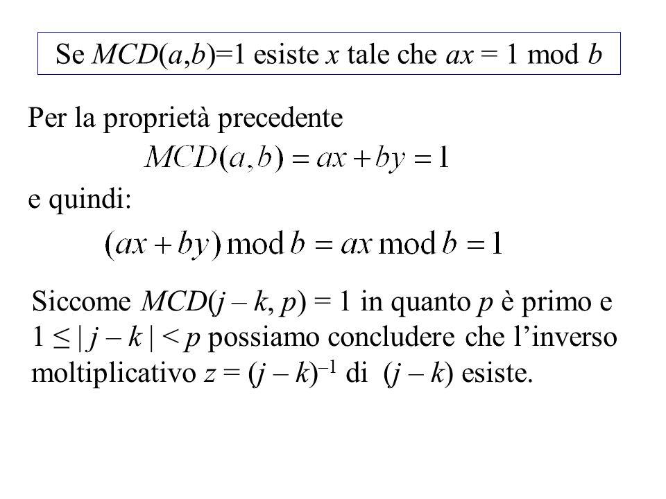 Se MCD(a,b)=1 esiste x tale che ax = 1 mod b Per la proprietà precedente e quindi: Siccome MCD(j – k, p) = 1 in quanto p è primo e 1 | j – k | < p pos