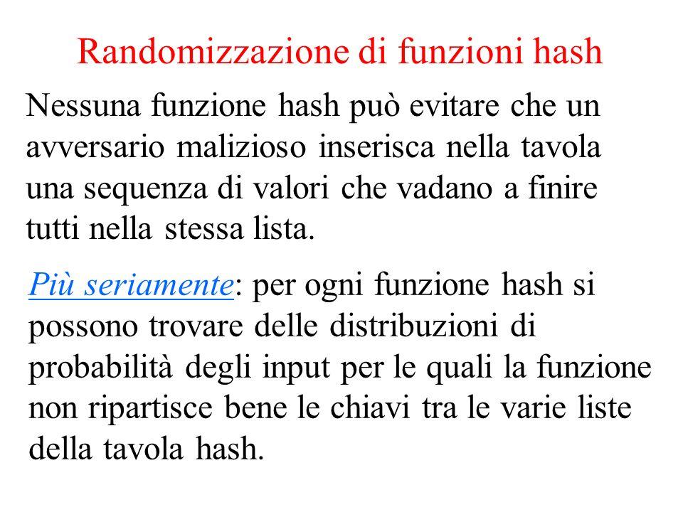 Randomizzazione di funzioni hash Più seriamente: per ogni funzione hash si possono trovare delle distribuzioni di probabilità degli input per le quali