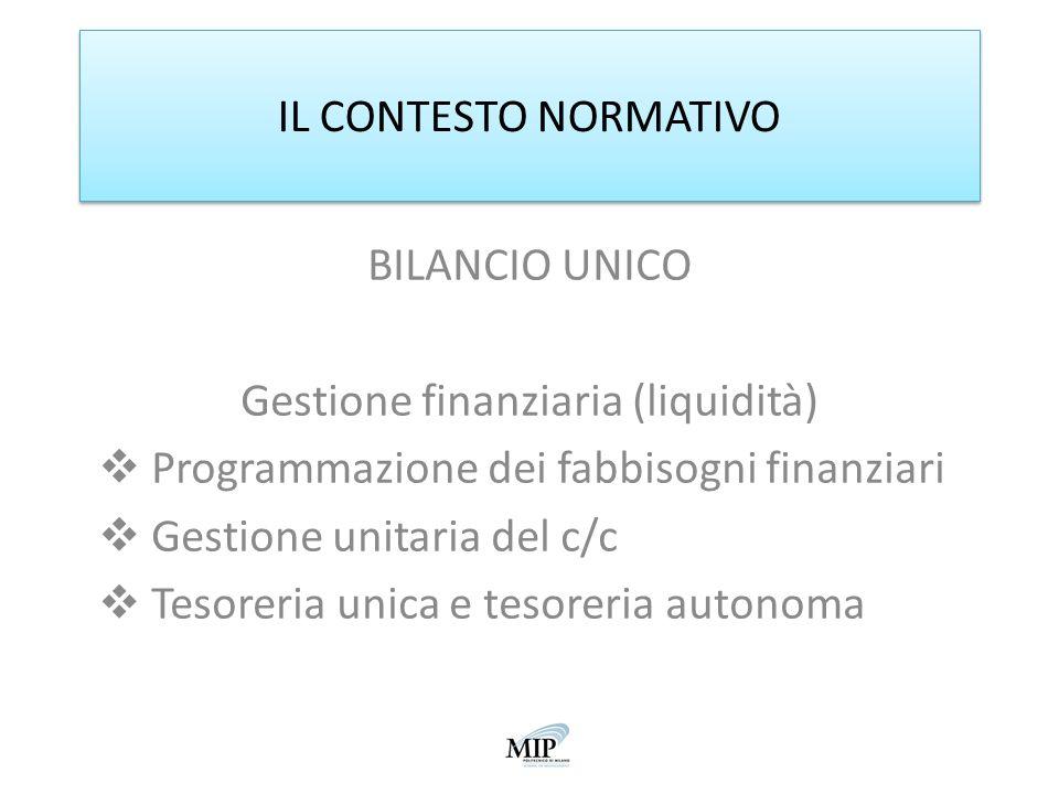 IL CONTESTO NORMATIVO BILANCIO UNICO Gestione finanziaria (liquidità) Programmazione dei fabbisogni finanziari Gestione unitaria del c/c Tesoreria uni
