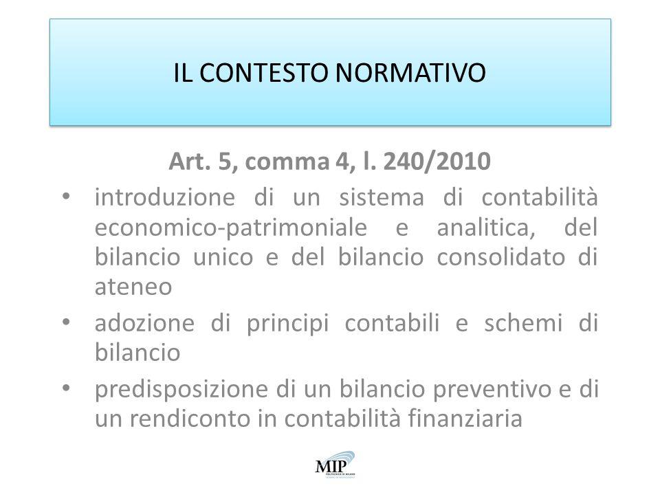 IL CONTESTO NORMATIVO Art. 5, comma 4, l. 240/2010 introduzione di un sistema di contabilità economico-patrimoniale e analitica, del bilancio unico e