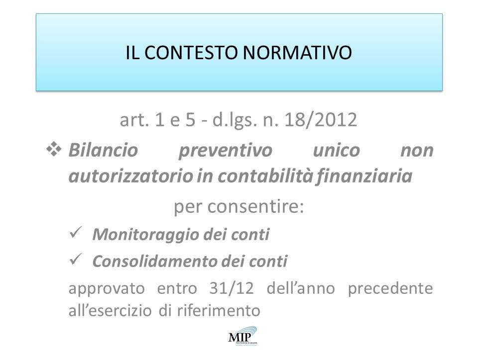 IL CONTESTO NORMATIVO art. 1 e 5 - d.lgs. n. 18/2012 Bilancio preventivo unico non autorizzatorio in contabilità finanziaria per consentire: Monitorag